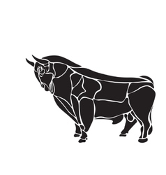 black and white engrave isolated bull vector image vector image