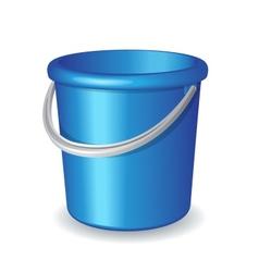 Blue plastic bucket isolated on white background vector image
