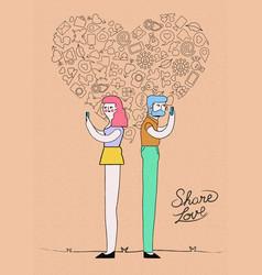 internet love on social media concept design vector image vector image
