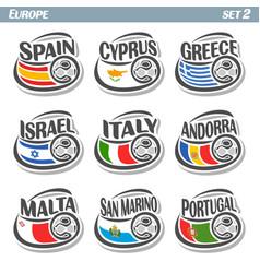 logo for european football ball flag vector image