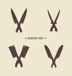 set of butcher meat knives for butcher shop and vector image vector image