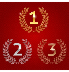 1st 2nd 3rd awards golden emblems vector image