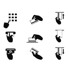 atm hand control icons set vector image vector image