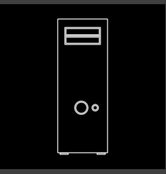 computer case or system unit white color icon vector image vector image