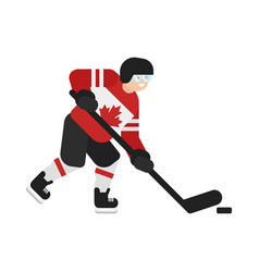flat style of canadian hockey player vector image