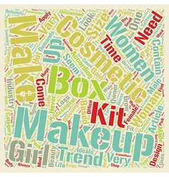 Makeup boxes text background wordcloud concept vector