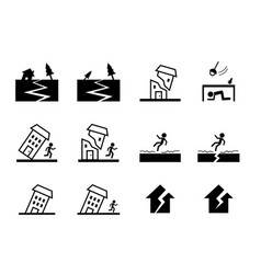 set of earthquake icon in art design vector image