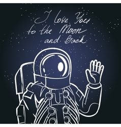 Spaceman astronaut Vintage typography hand drawn vector image
