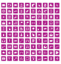 100 mobile icons set grunge pink vector