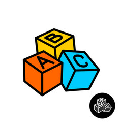 Abc blocks with letters icon vector