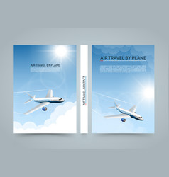 air travel by plane modern airplane banners vector image