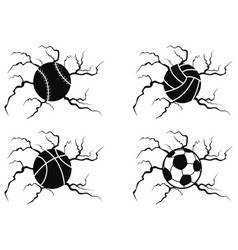 balls cracking icons set vector image