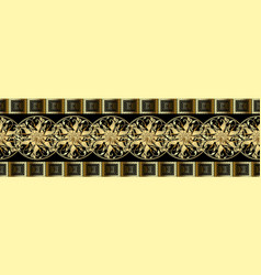 Baroque gold 3d seamless borders pattern greek vector