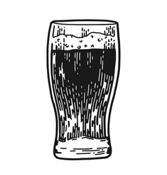 Beer glass engraved vector