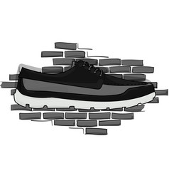 Black and gray shoes on a piece on the background vector
