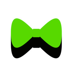 bow tie icon green 3d icon with black vector image
