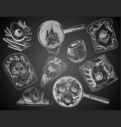 breakfasts and brunches top view on chalkboard vector image