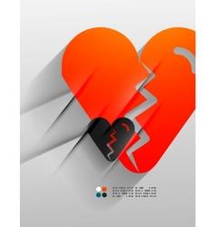 broken heart paper 3d design vector image