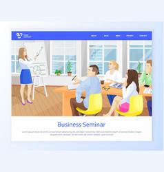 Business seminar woman giving presentation office vector