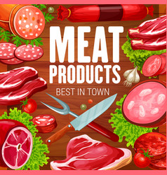 Butcher meat and sausages grocery products shop vector