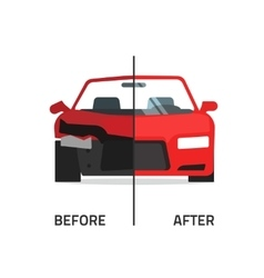 Car body frame repair service crushed vector