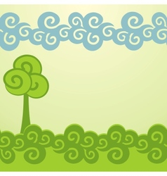 Cartoon trees background vector image