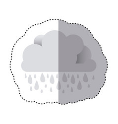 Color sticker of cloud with rain vector