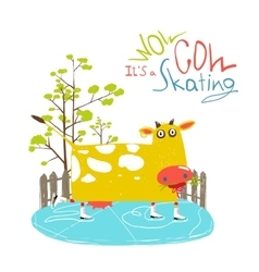 Colorful Fun Cartoon Ice Skating Cow for Kids vector image