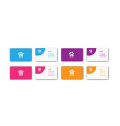 Colorful pets business card design template vector