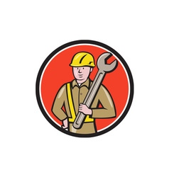 Construction Worker Spanner Circle Cartoon vector image