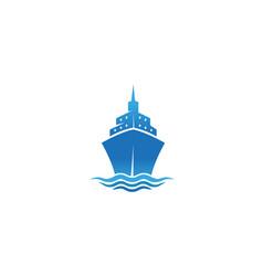 creative blue summer steamboat logo design symbol vector image