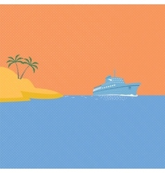Cruise ship tropical island and blue ocean vector image