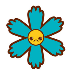 cute blue flower kawaii cartoon vector image