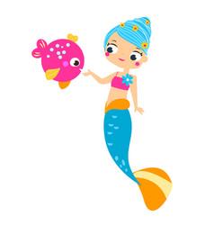 cute mermaid feed fish cartoon vector image