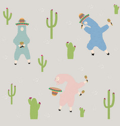 dancing llamas in a mexican hat with maracas vector image