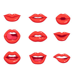 different shapes female sexy red lips vector image
