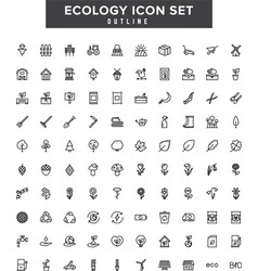 Ecology outline coloring icon set vector