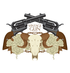 Emblem with skull of sheep roses and pistols vector