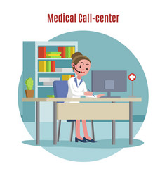 emergency call center concept vector image vector image