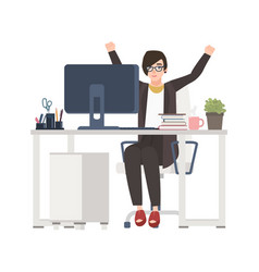 female office worker or manager sitting at desk vector image