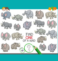 find one of a kind with animal characters vector image
