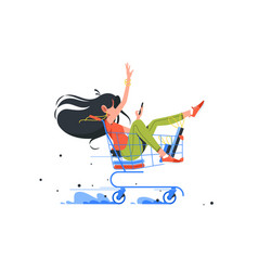 Funny young girl rides shopping cart after order vector