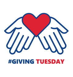 Giving tuesday helping hand with heart shape vector