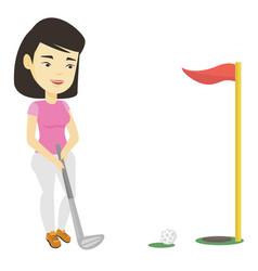 Golfer hitting ball vector
