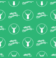 green seamless merry christmas pattern background vector image