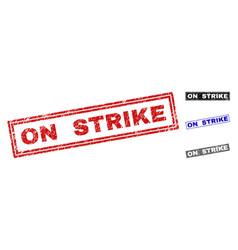 grunge on strike scratched rectangle stamp seals vector image