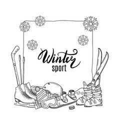 Hand drawn winter sports equipment elements vector