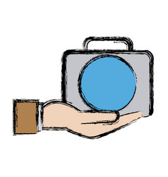 Hand man holding kit first aid veterinarian vector