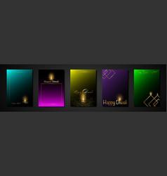 happy diwali indian lights festival set cards vector image
