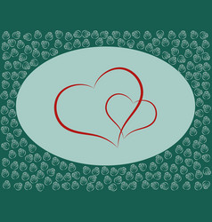 hearts with roses or post card or valentines day vector image